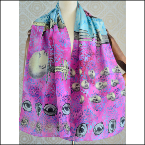 "Gabriela Szulman Silk crepe de chine scarf ""cabinet of curiosities"" 1650 x 450 mm"