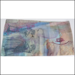 "Gabriela Szulman Silk crepe de chine scarf ""sunday afternoon"" 1650 x 450 mm. Dolls dress stains flowers pink blue"