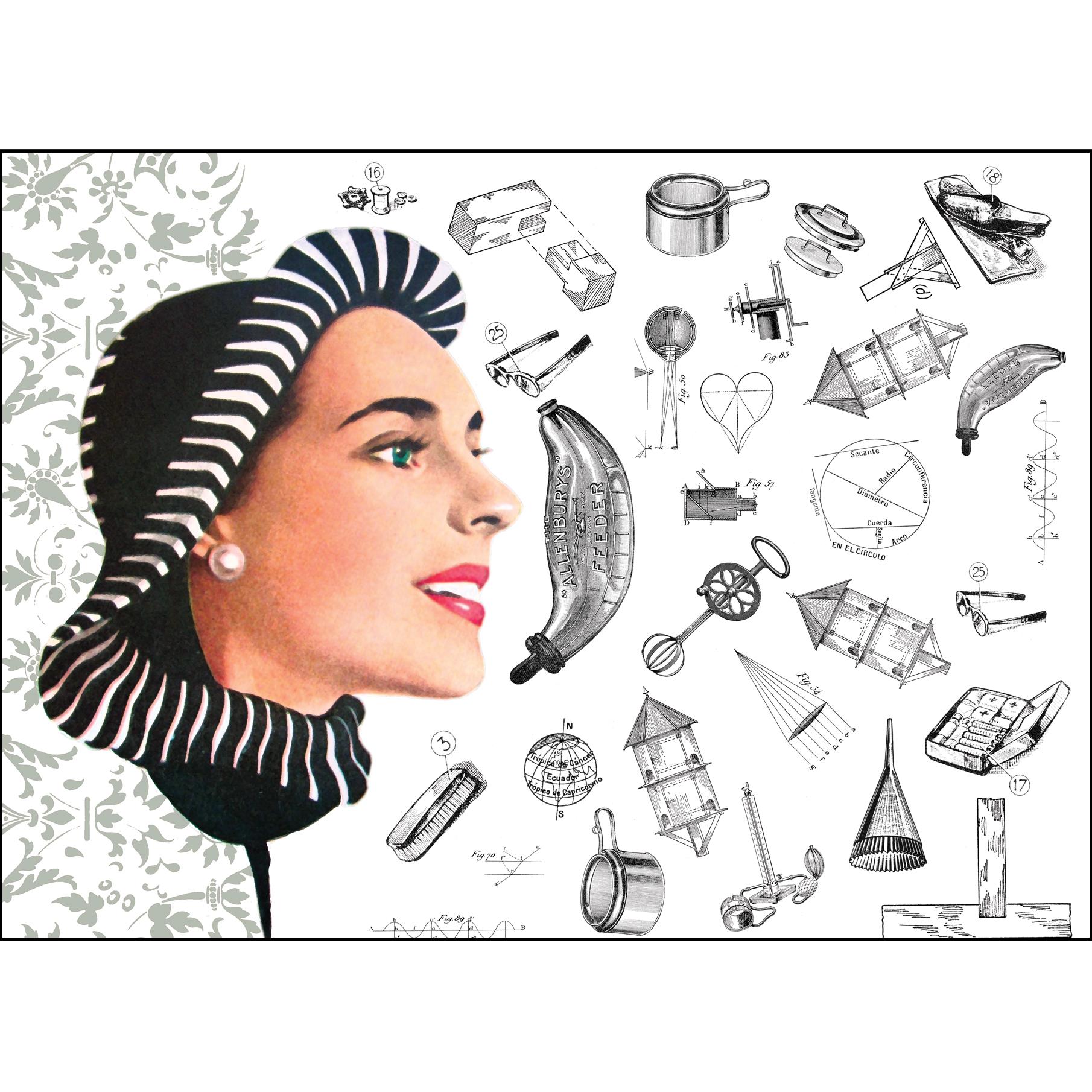 "Gabriela Szulman original giclee print collage on paper ""her to-do list"" 290 x 390 mm plus white border unframed"