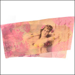 "Gabriela Szulman Silk crepe de chine scarf ""dancing queen"" 1650 x 450 mm. Odalisque flowers writing pink orange"