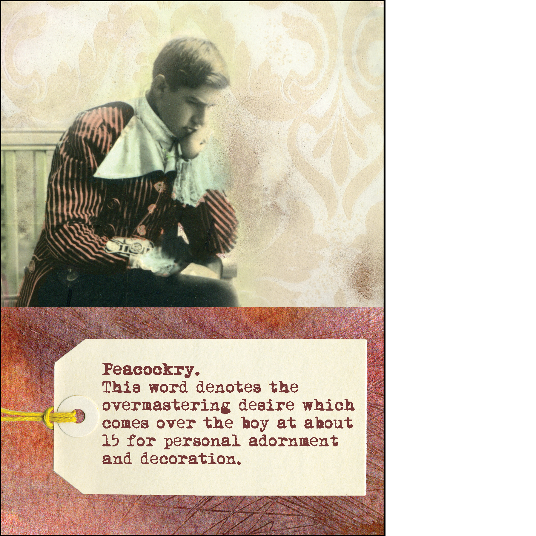 "Gabriela Szulman collage greeting card ""peacockry"". It says: this word denotes the overmastering desire which comes over the boy at about 15 for personal adornment and decoration. Old picture of a boy thinking"