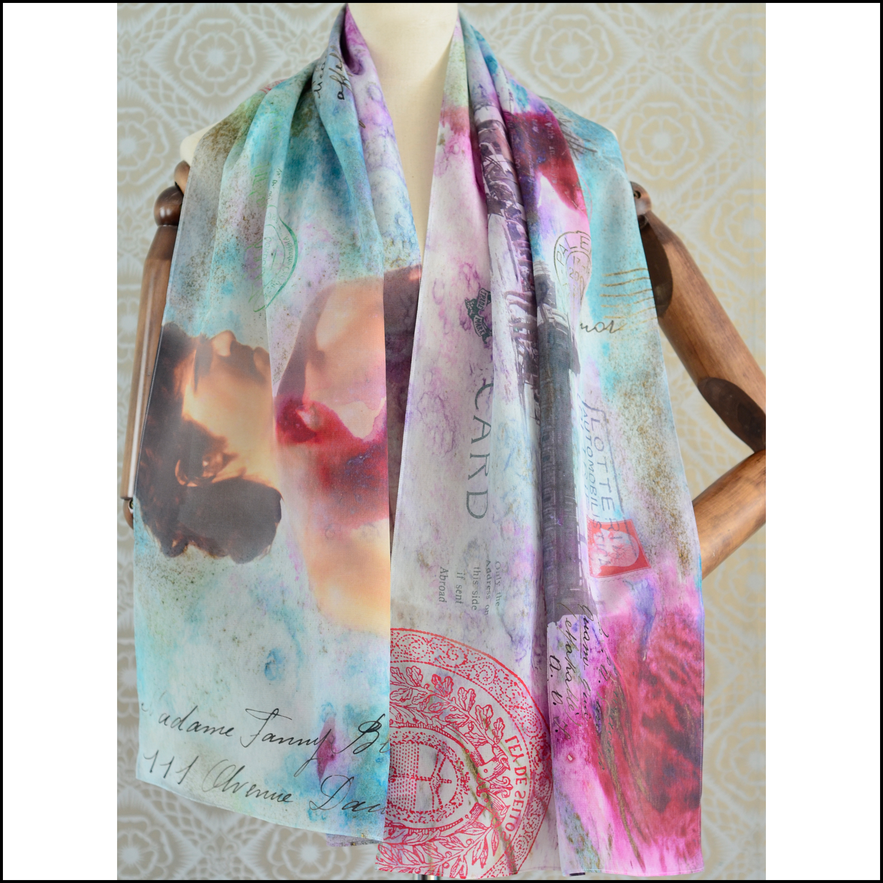"Gabriela Szulman Silk crepe de chine scarf ""waiting for you"" 1650 x 450 mm"
