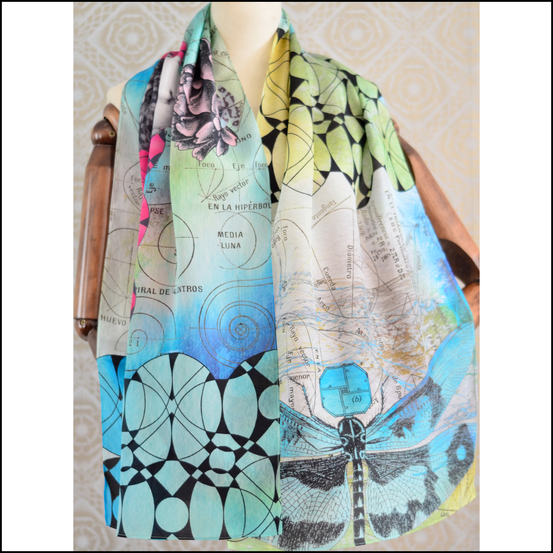 "Gabriela Szulman Silk crepe de chine scarf ""dreaming in technicolour"" 1650 x 450 mm"