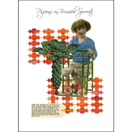 pigeons-on-brussel-sprouts vintage recipe print