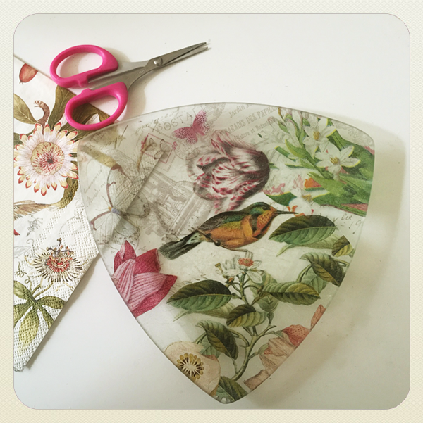 decoupage glass dishes, paper and scissors