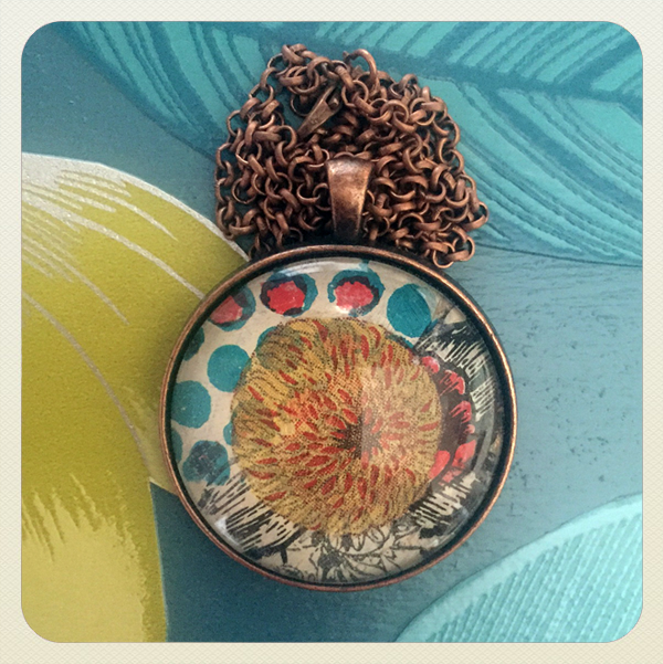 pendant with decoupage glass cabochon
