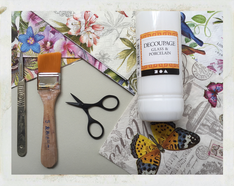 decoupage papers, tools, glue for upcycled glass and porcelain