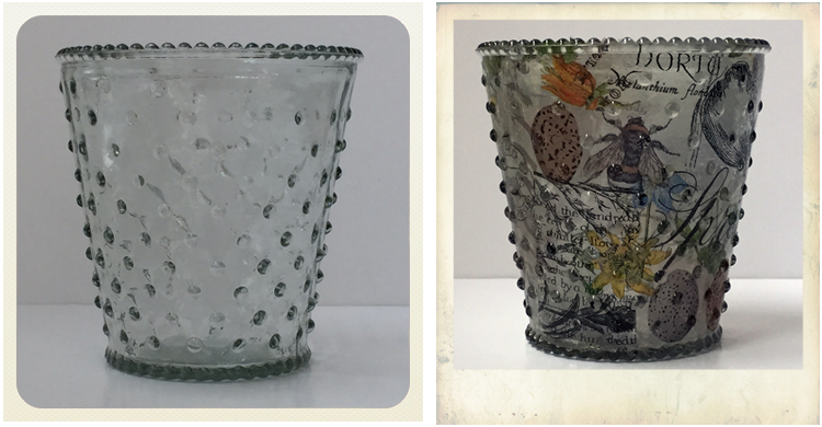 glass vase from pound shop before and after decoupage