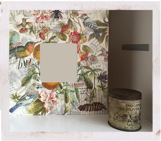 Ikea Malma frame with paper napkin and wallpaper decoupage, ikea hacks