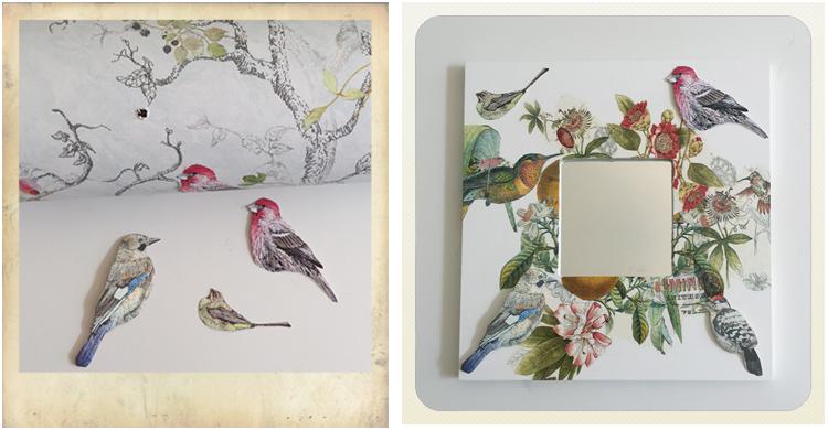 Wallpaper bird motif cut-outs, Ikea Malma frame with decoupage in progress, ikea hacks