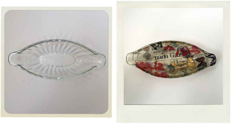 upcycled glass dish from pound shop before and after decoupage