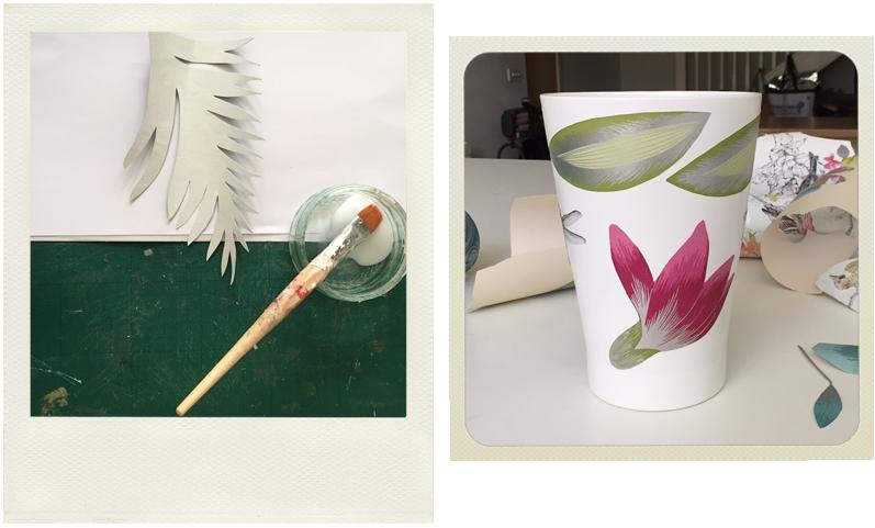 papaja plant pot decoupage in progress with glue and wallpaper shapes, ikea hacks