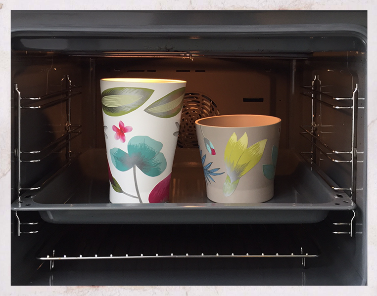 papaja plant pots with wallpaper decoupage, adhesive being set in oven, ikea hacks