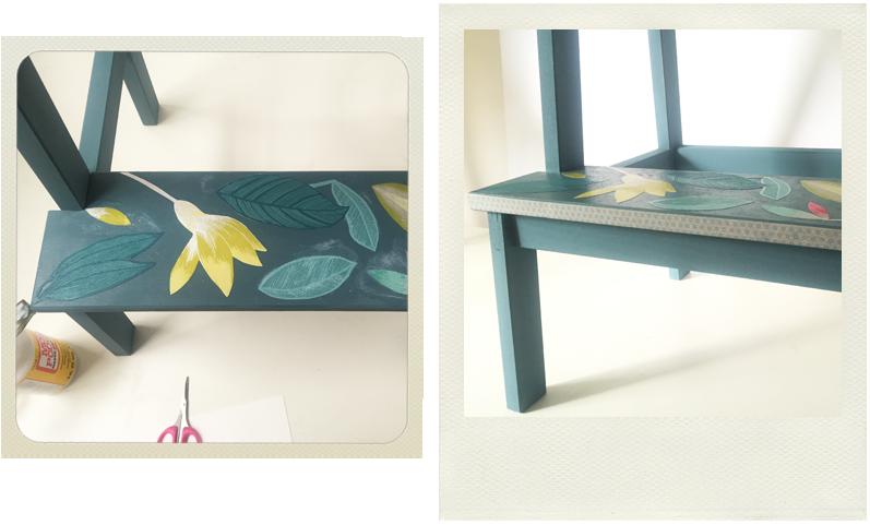 bekvam stool with decoupage and washi tape, Ikea hack