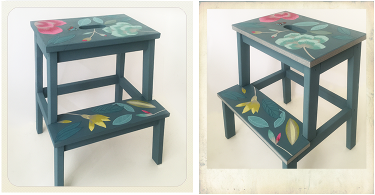 bekvam stool with decoupage wallpaper and washi tape, Ikea hack