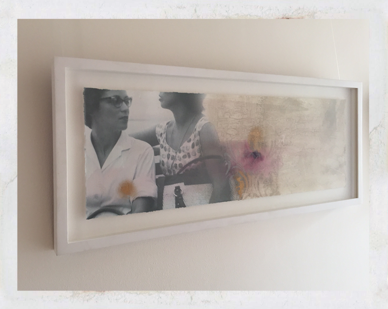 """""""Friends"""", mixed media print with black and white photo of two women"""
