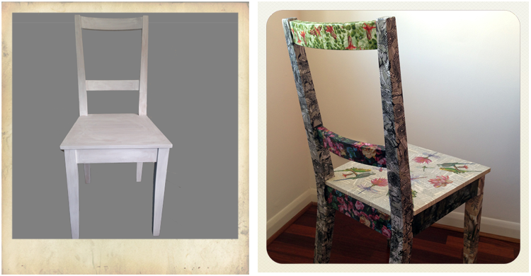 ikea chair before and after decoupage, furniture hacks