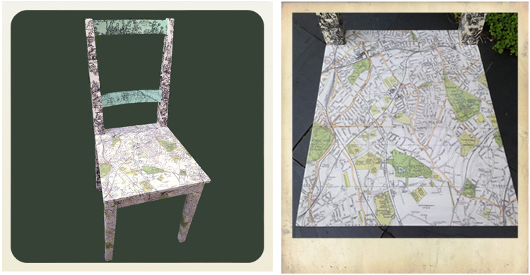 kitchen chair upcycled with decoupage using printed tissue paper featuring Dulwich map, ikea furniture hacks