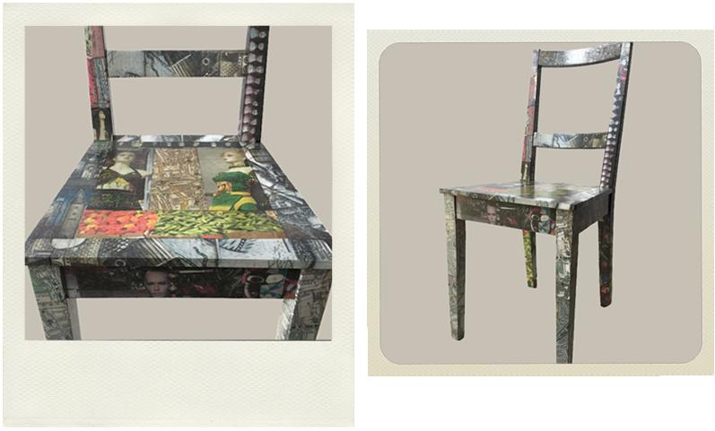 ikea peckham chair after decoupage, furniture hacks