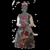 Frida Kalho art doll in red dress back view skull