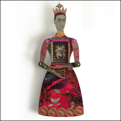 Frida Kalho art doll in red dress