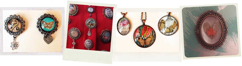 assembled jewellery w decoupage glass cabochons