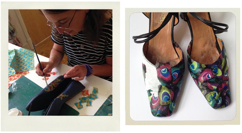 shoe decoupage in process