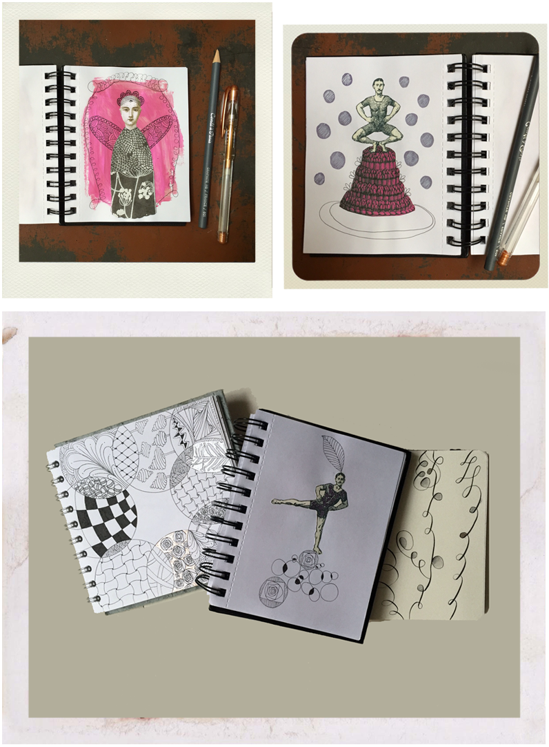 selection of open sketchbooks showing geometric drawings, angel, collage, pen and ink, pink paint, metallic colour