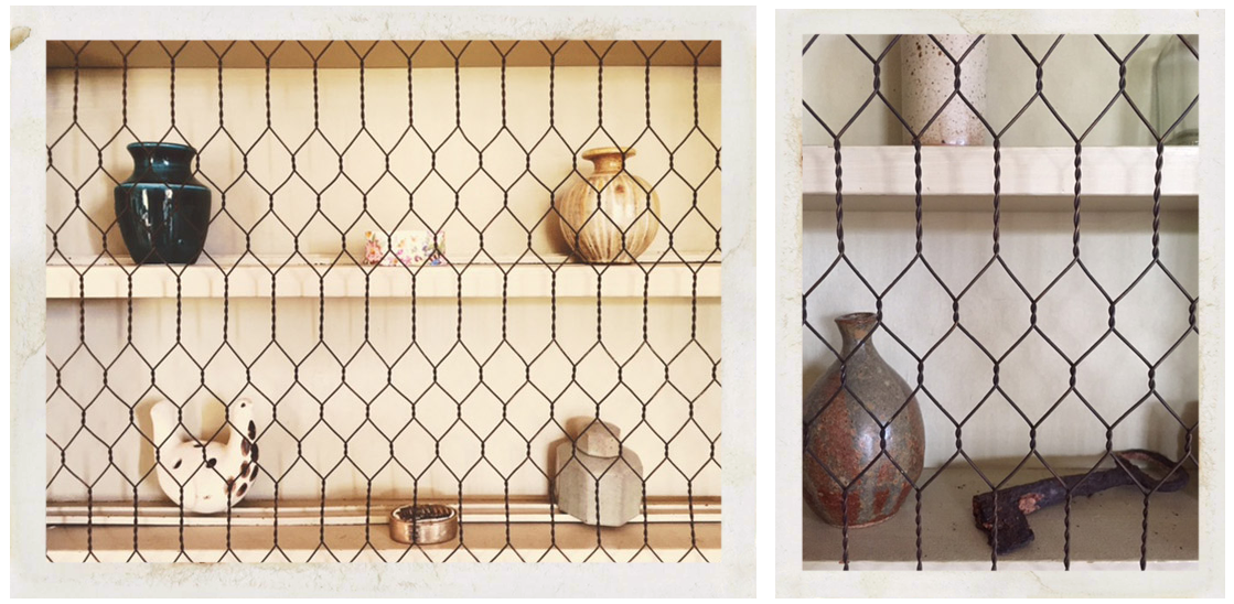 ceramic objects seen through metal grid