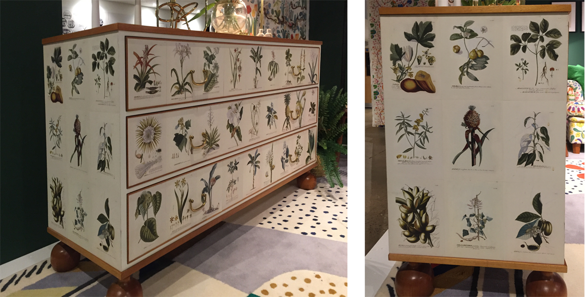 josef frank chest of drawers with decoupage at fashion and textile museum exhibition