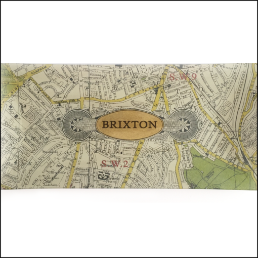 map of brixton decoupage glass dish h