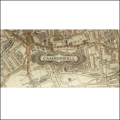 camberwell vintage map decoupage glass dish
