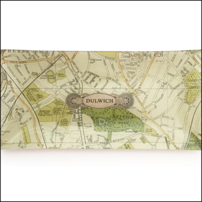 map of dulwich decoupage glass dish