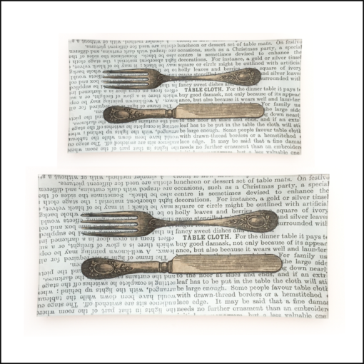 vintage knife fork book paper decoupage glass dish 2 sizes