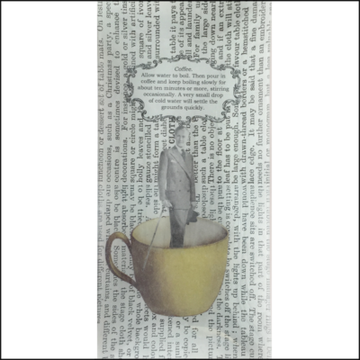 Oblong dish decoupage glass. Man in a suit inside a coffee cup, book paper.