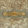vintage map of peckham decoupage glass dish closeup