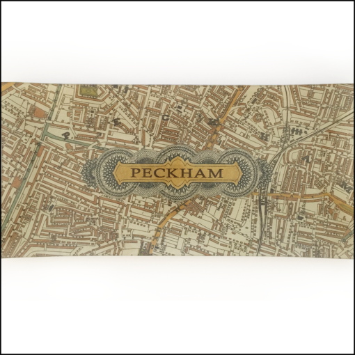 vintage map of peckham decoupage glass dish