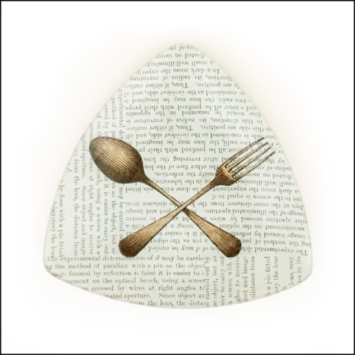 vintage fork and spoon on book paper decoupage dish triangle shape
