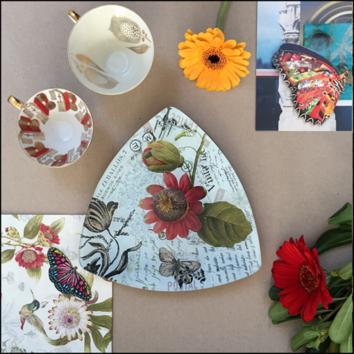 traingular glass dish decoupagevintage botanical flowers butterflies script