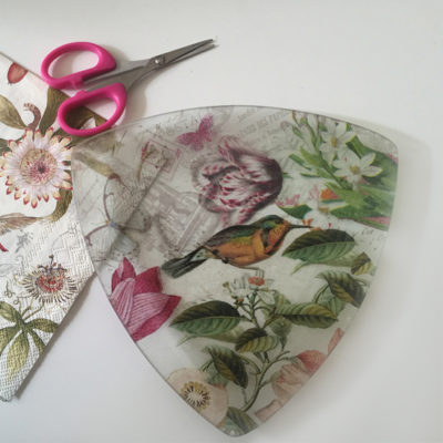 glass plate with paper decoupage