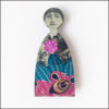 fairy brooch pink, blue and black, decoupage on wood