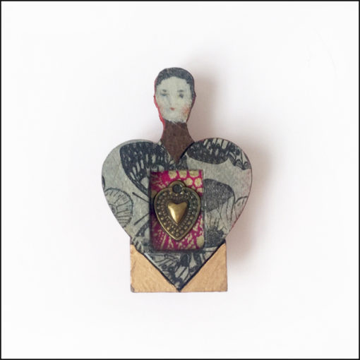 heart-shaped fairy brooch, wood and paper, heart charm