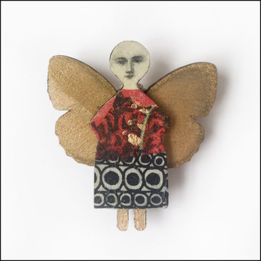 fairy brooch with butterfly wings, wood and paper, liquid gold leaf