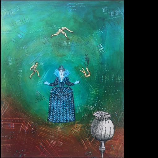 The juggler original collage on board