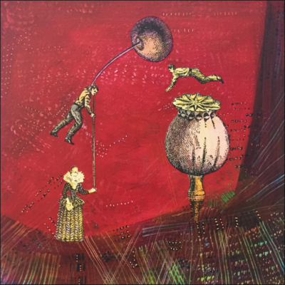 holding the balance, collage on board, red, one woamn and two men, seed head, cherry, red, acrylic paint and paper