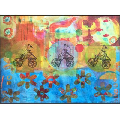 collage on paper easy riders, three birds on bikes. Acrylic and paper
