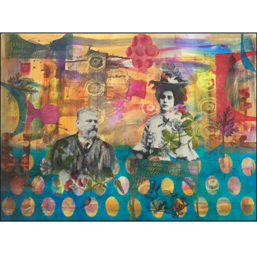 collage on paper black and white vintage photo couple on colourful background