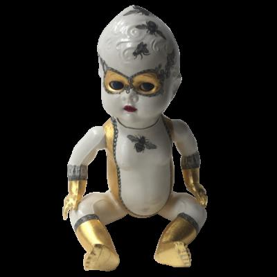 altered vintage doll, lucha libre design, bees, gilded