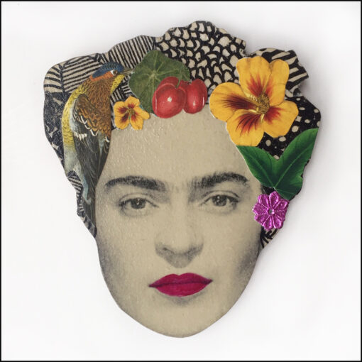 frida Kahlo art brooch pin jewellery original handmade bird and yellow flower