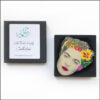 frida Kahlo art brooch pin jewellery original handmade bird and yellow flower presented in black gift box